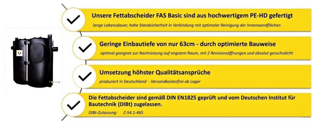 FAS Fettabscheider Produktvorteile